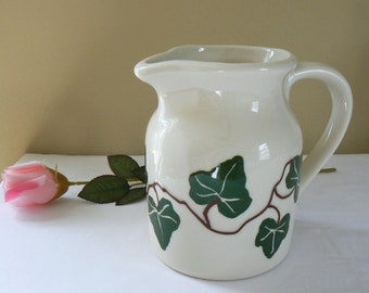 Vintage Ivy Pitcher; Ceramic Pitcher with Ivy; Pottery Water Pitcher