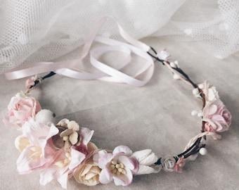 Flower crown, Bridal flower crown, Floral crown, Wedding flower crown, Flower girl, Pink flower crown, Weddings, Maternity Photo Shoot
