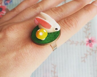 Little bunny mini garden adjustable ring!