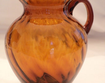 Vintage Amber Glass Pitcher, Small Amber Glass Pitcher, Amber Glass Pitcher, Vintage Wedding Gift