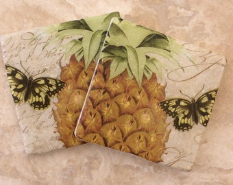 Set of 2 Marble Coasters ~Pineapple/Butterfly/Tropical/Yellow