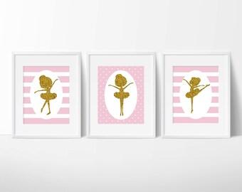 THREE Ballerina Art Print, Little Ballerina Wall Art, Modern Minimalist, Home Decor, Digital Art, Printable, Pink, Tutu, Baby Girl