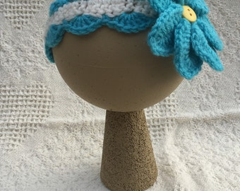 Blue flower headband, child headband, handmade headband, headband