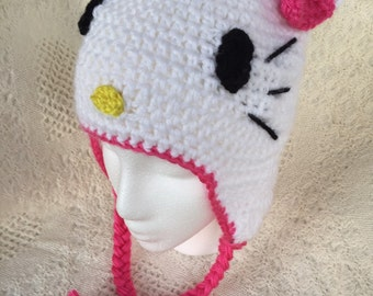 Hello Kitty Inspired Hat, Hello Kitty Inspired Beanie, Cat Hat, Kitty Hat, Cat Beanie, Kitty Beanie, Character Hat