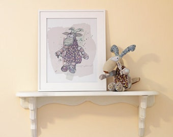 Combo Doggie and Illustration / DOE and poster / Caribou, deer / decorated room