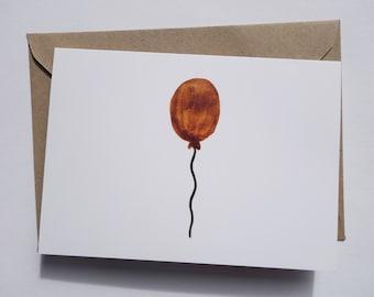 Orange Balloon Greetings Card