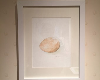 Original watercolor egg, gift under 100, egg painting, kitchen art