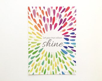 Quote Postcards - Inspirational Quote  - Flat Lay Prop - Affirmation Card - Gift for Her - Let Your True Colours Shine - Rainbow Quote