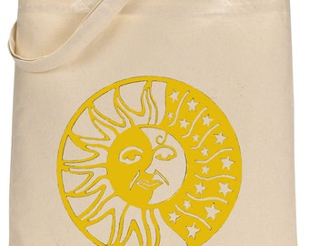 Sun and Moon celestial design tote bag