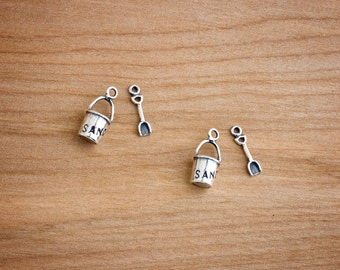 Sterling Silver - Sea Sand Castle Pail and Shovel Charms - Jewelry Component