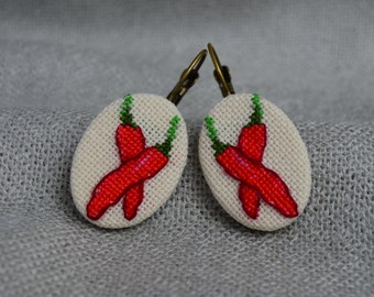 Embroidered red hot chili pepper Cross stitch earrings Embroidered jewelry Hot pepper earrings Handmade chilli pepper Red earrings