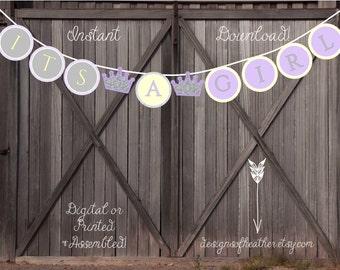 Yellow and Lavendar Princess Crown Digital Baby Shower Banner