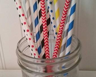 Primary colors Paper Straws, thomas train Party paper straws, Mason Jar Straw, Thomas Train Party supplies, thomas straws