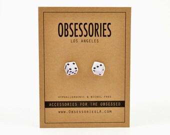Dice Earrings Stud Earrings Post Dice Jewelry Dice Accessories 50s Rockabilly Las Vegas Casino Gambling Craps Bunco Roll The Dice Gift Idea