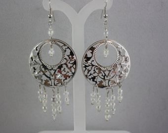 earrings, lacy fretwork earrings, hand made jewelry, handmade jewelry, drop earrings, dangle earrings, lacy earrings, fretwork earrings