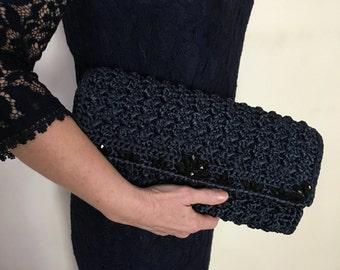 Vintage Crochet Clutch, Purse, Bag in navy blue. Evening  clutch .