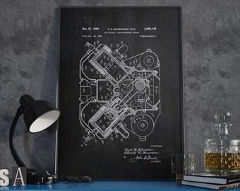 Internal Combustion Engine, Engine Patent, Engine Poster, Patent Print, Home Decor, Office Decor - DA0092