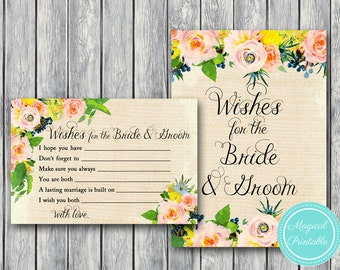 Wishes for the Bride and Groom Printable, Floral Rustic Burlap Bridal Shower Game Printable, Bachelorette, BS183