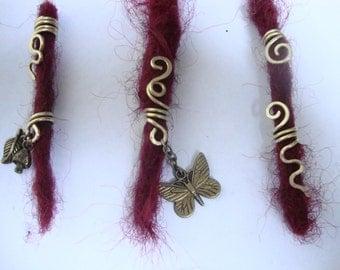 Set of five brass spiral design dreadlock beads