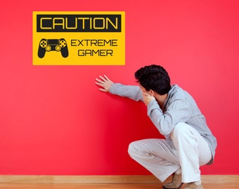 Caution Extreme Gamer Wall Sticker - Gamer / Gaming Sign