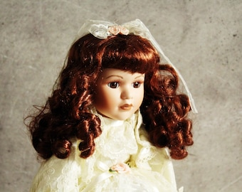 NEW PRICE Vintage doll, collectible doll, wedding doll, bisque face doll, retro toy