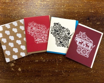 Wisconsin Greeting Card Set of Four