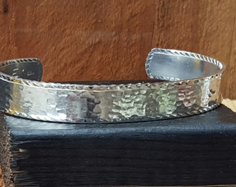 sterling silver cuff bracelet, hammered finish