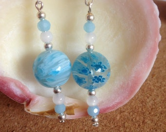 Beautiful fresh Blue Millefiori glass beaded earrings. New