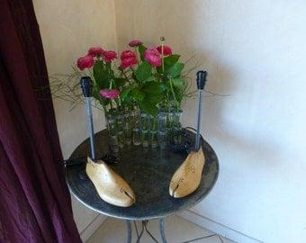 foot lamp, old shoe, wood... Lamp base, shoetree, wood...