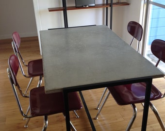 Concrete Grey and Black Table
