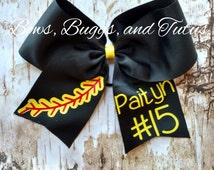 Custom cheer bow, personalize softball bow, baseball bow, 7 inch bow, tball bow, hair bow