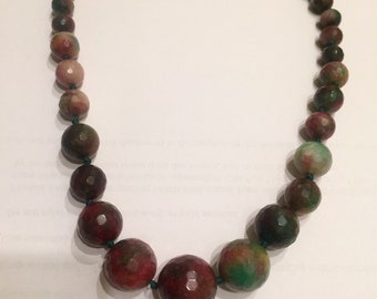 Red + green jade necklace