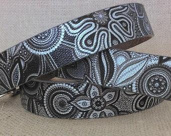 Floral Genuine Leather Belt