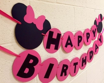 Minnie Mouse Happy Birthday Banner, Minnie Mouse Birthday Party, Minnie Mouse Birthday, Minnie Mouse Party Decoration