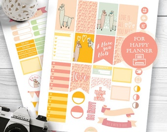 Happy Planner Stickers, Llama Printable Planner Stickers, Llama Love Planner Stickers, Weekly Kit, Sticker Kit, MAMBI, Pastel Stickers