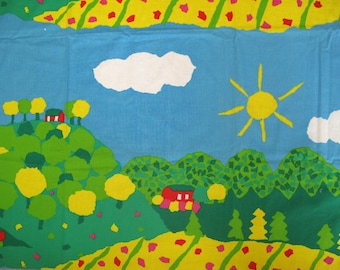 Finlayson cotton fabric large curtain with red houses, hills sun and flowers, Finja by Sirkka Sive, designed in Finland, Marimekko kids room