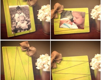 Lime green distressed 5 X 7 wood picture frame