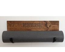 Personalized yoga mat holder, handmade yoga mat holder, wall mounted yoga mat holder, unisex yoga gifts/ tribal gifts/namaste