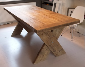 Reclaimed Wood Dining Table With Cross X Legs. Made To Measure, Hand Made  Industrial