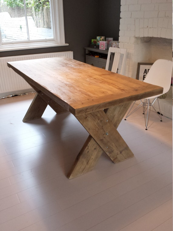 Reclaimed wood dining table with cross x legs made to for Cross leg table plans