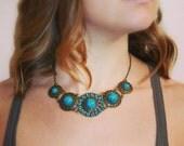 Turquoise Boho Statement Necklace/ Medallion / Minimalist Style/ Boho Chic/ Statement Jewelry /Bohemian/Chic/ Modern