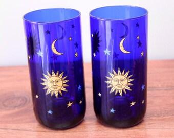 Set Of 2 Libbey Celestial Blue Glass Tumblers. Sun Moon & Stars. Excellent!