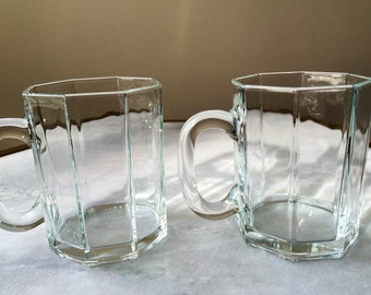 Set of 2 Clear Glass Mugs, Luminarc Arcoroc Octime France. Coffee Or Tea.