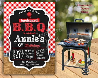 BBQ Red Plaid Birthday Party Invitation Invite Rustic 1st Birthday Boy Girl Neutral Burlap denim barbecue barbeque Photo Photograph BDBBQ1