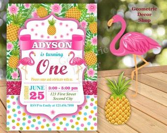 Flamingo Pineapple First Birthday Invitation 1st Any age Glitter Polka dot Birthday invite Invitation Printable Luau Hawaiian Party BDP1