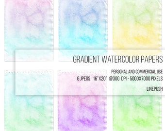SALE! Gradient watercolor paper. Boho, rainbow, digital paper, scrap, scrapbooking paper, wallpaper, background, clipart, doodle paper, hobo