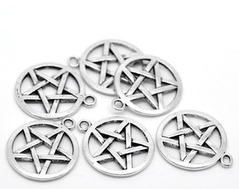 5 Small Shiny Silver Pentagram Charm   Supernatural Pendant   2161