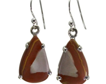 Mookaite Earrings, 925 Sterling Silver, Unique only 1 piece available! color red, weight 3.5g, #29424
