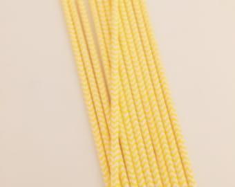 Yellow & White Chevron Stripe Paper Straws