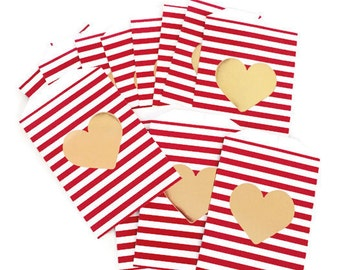 Heart Cutout Red & White Striped Valentine Goodie Bags